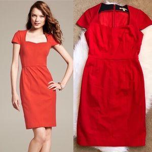 Banana Republic Sloan Cap Sleeve Sheath Dress Red
